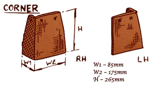 angled tiles product description Width 1 = 85mm. Width 2 = 175 mm. Height = 265mm