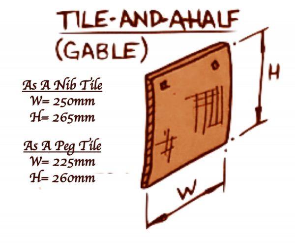 Gable tiles full product spec. Nib Tile Width = 250mm Height = 265mm. Peg Tile Width = 225mm Height = 260mm.