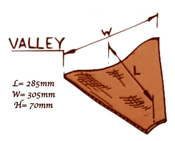 Valley tiles product spec. Length = 285mm Width = 305mm Height = 70mm.